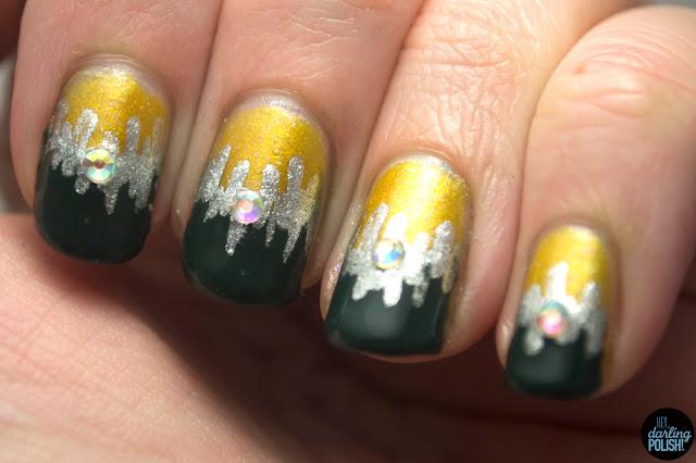 nails, nail art, nail polish, gold, green, silver, rhinestones, sinful colors this is it, revlon, elf, heydarlingpolish