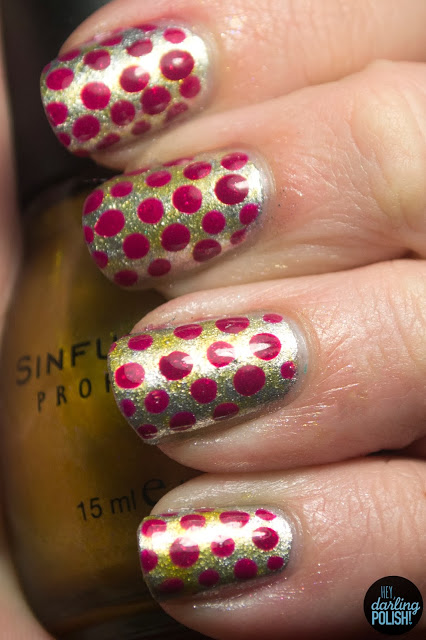 nails, nail art, nail polish, polka dots, dotticure, red, gold, silver, relvon silver dollar, sinful colors this is it, china glaze ahoy, tri polish challenge, hey darling polish
