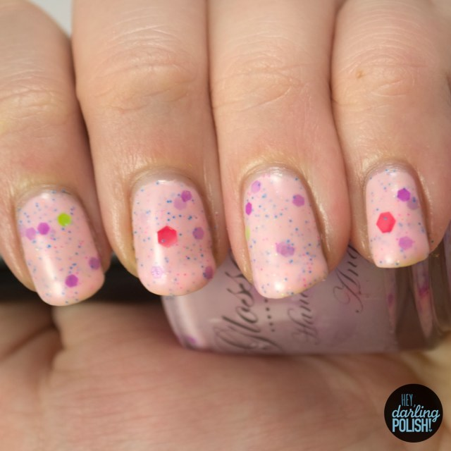 indie, indie polish, glossome polish, indie friday, glitter crelly, hey darling polish, neon nation, pink
