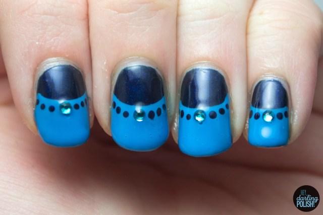 nails, nail polish, polish, blue, half moons, dots, rhinestones, hey darling polish, golden oldie thursdays