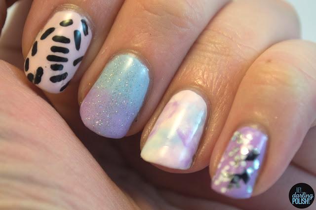 nails, nail art, nail polish, nail skittles, pastel, purple, pink, blue, hey darling polish, pattern, glitter,