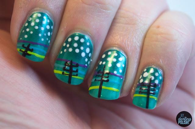 nails, nail polish, nail art, this town needs guns, hey darling polish, dots, music monday