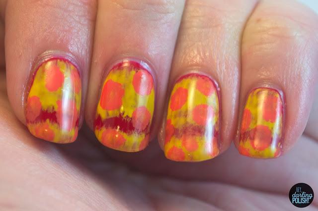 nails, nail art, nail polish, polish, red, orange, yellow, pattern, acetone, hey darling polish, tri polish challenge