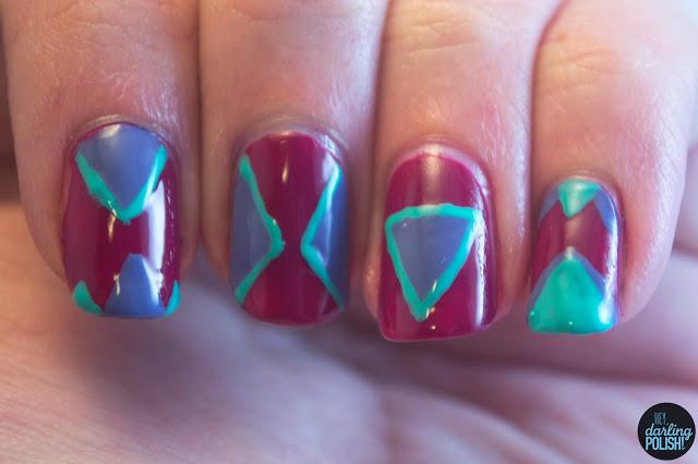 nails, nail art, nail polish, triangles, purple, turquoise, hey darling polish
