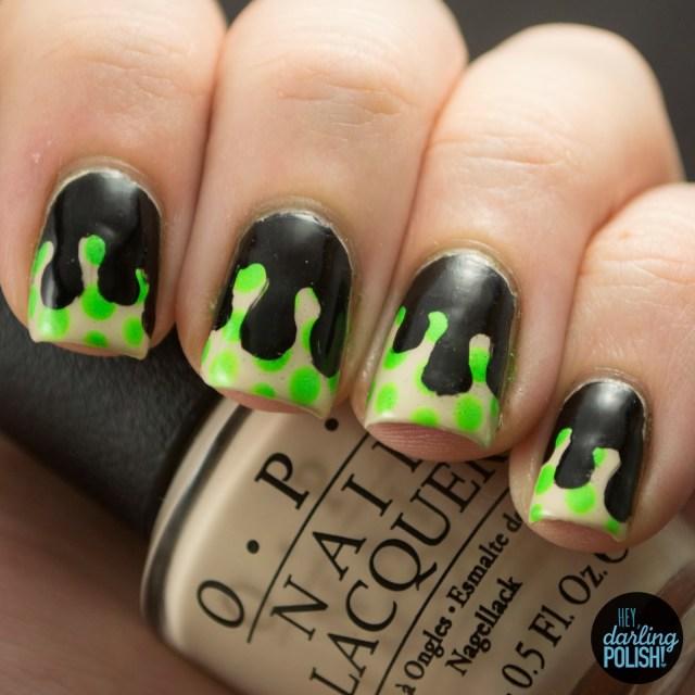 nails, nail art, nail polish, polish, drips, drip nails, black, green, nude, hey darling polish, nail art a go go,