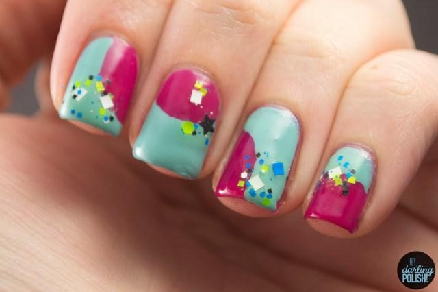 nails, nail art, nail polish, polish, nail art a go go, pink, blue, glitter, round and square, hey darling polish