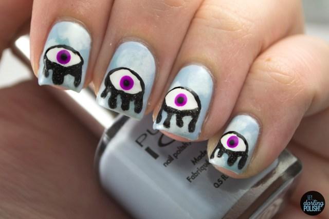nails, nail art, nail polish, polish, surrealism, eyes, drips, hey darling polish, nail art a go go