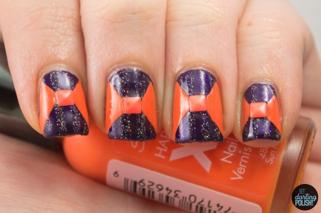 nails, nail art, nail polish, polish, orange, purple, fairy dust, nail art a go go, hey darling polish, studs, stripes,