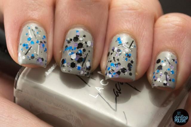 grey, graffiti, glitters, black, purple, blue, white, nails, nail polish, indie, indie polish, indie nail polish, sick lacquers, hey darling polish,