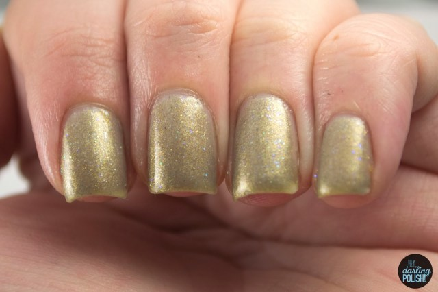 heavenly gold, shimmer, gold, indie, indie polish, indie nail polish, nail polish, swatches, swatching, hey darling polish, star crushed minerals