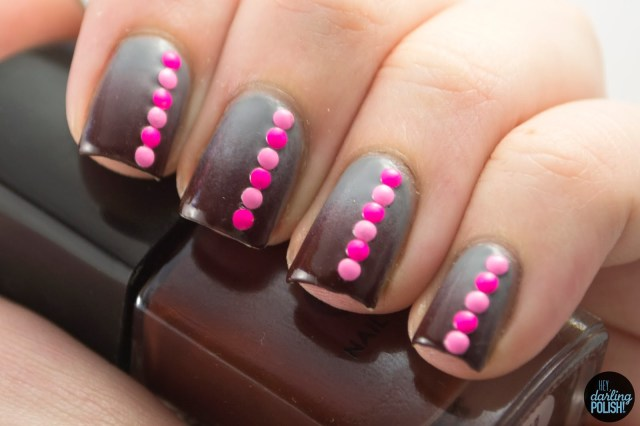 nails, nail art, nail polish, polish, gradient, studs, brown, grey, pink, tpc, tri polish challenge, hey darling polish
