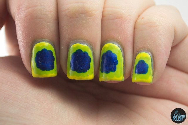 nails, nail art, nail polish, polish, ruffles, yellow, green, blue, hey darling polish, golden oldie thursdays