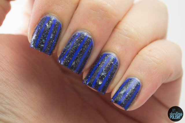 nails, nail art, nail polish, polish, stripes, blue, glitter, indie, indie polish, hey darling polish, lacquer legion, lucky, LLlucky, LynBDesigns