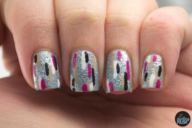 nails, nail art, nail polish, polish, lines, pattern, hey darling polish,