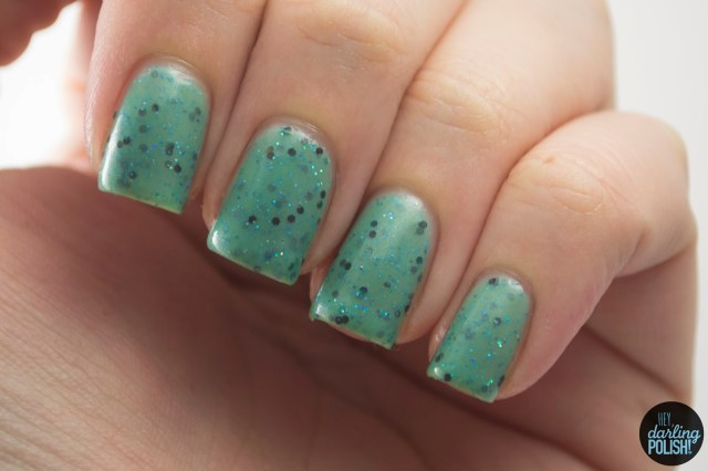 teal, glitter, glitter crelly, teal me more, nails, nail polish, indie, indie nail polish, indie polish, squishy face polish, hey darling polish, swatch