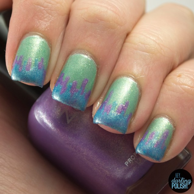 nails, nail art, nail polish, polish, zoya, green, blue, purple, tips, jagged, hey darling polish, tri polish challenge, tpc