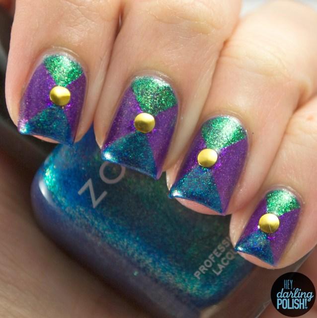 nails, nail art, nail polish, polish, purple, blue, green, tri polish challenge, zoya, triangles, hey darling polish