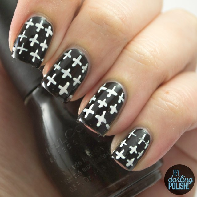 nails, nail art, nail polish, polish, black, white, plus, pattern, patterned wednesdays, hey darling polish