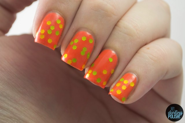 nails, nail art, nail polish, glitter, orange, shirley ann nail lacquer, mile long margarita, neon, hey darling polish