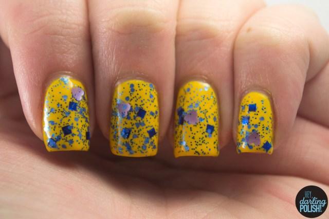 in loving memory, hearts, nails, nail polish, polish, indie, indie polish, indie nail polish, shirley ann nail lacquer, glitter, blue, hey darling polish