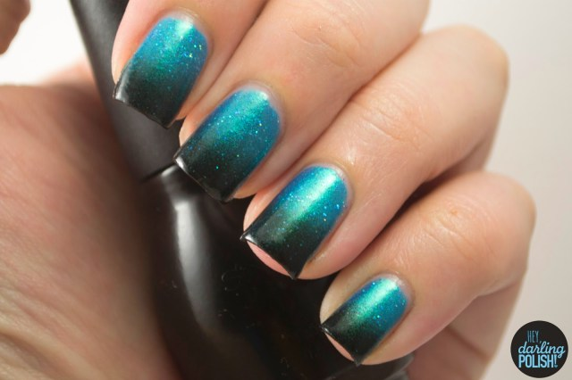 nails, nail art, nail polish, polish, gradient, blue, black, love-a-bull lacquer, hey darling polish, the never ending pile challenge
