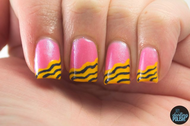 nails, nail art, nail polish, polish, hey darling polish, tri polish challenge, pink, blue, yellow, tpc, waves