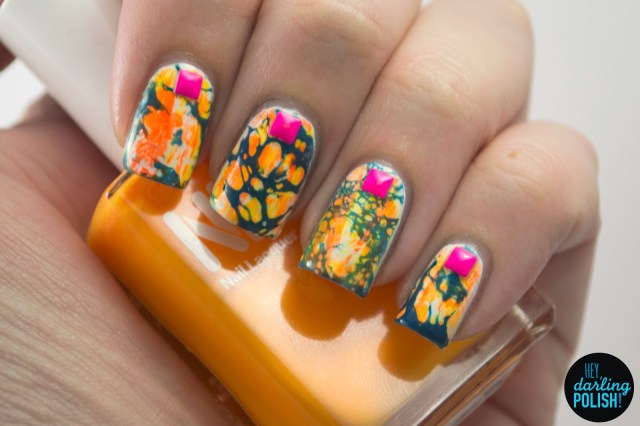 nails, nail art, nail polish, polish, neon, distressed nails, hey darling polish, studs, water spotted, golden oldie thursdays, orange, blue