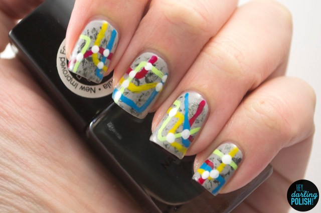 nails, nail art, nail polish, polish, grey, red, blue, yellow, green, hey darling polish, nail art ideas linkup, subway, free hand