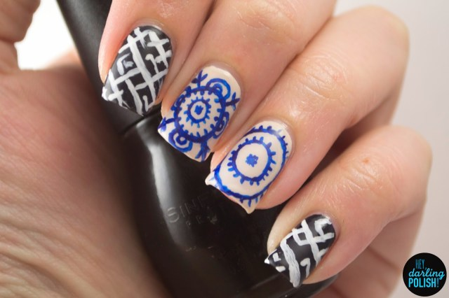 nails, nail art, nail polish, polish, black, white, blue, neutral, oriental, pattern, free hand, theme buffet, hey darling polish, acrylic paint