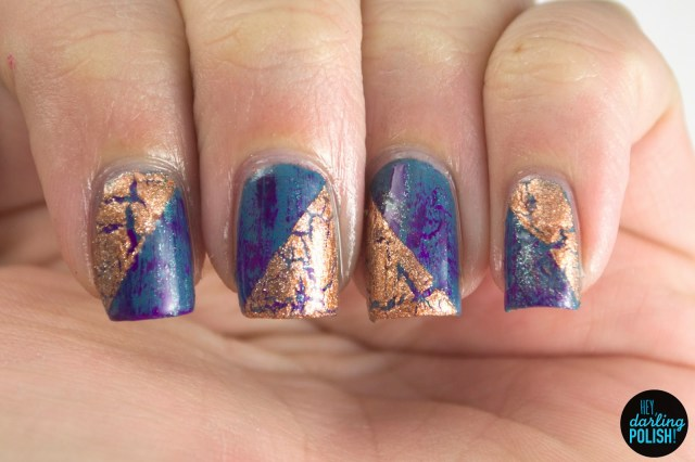 nails, nail art, nail polish, polish, crackle, distressed, the never ending pile challenge, tgpnpc, hey darling polish, copper
