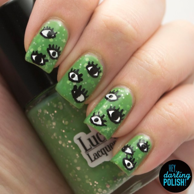 nails, nail art, nail polish, polish, eyes, green, glitter, lucky 13 lacquer, hey darling polish, the never ending pile challenge, tgpnpc