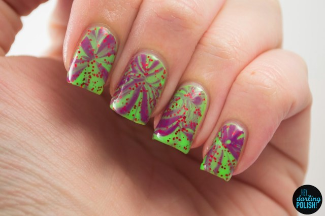 nails, nail art, nail polish, polish, green, red, purple, water marble, glitter, tri polish challenge, hey darling polish