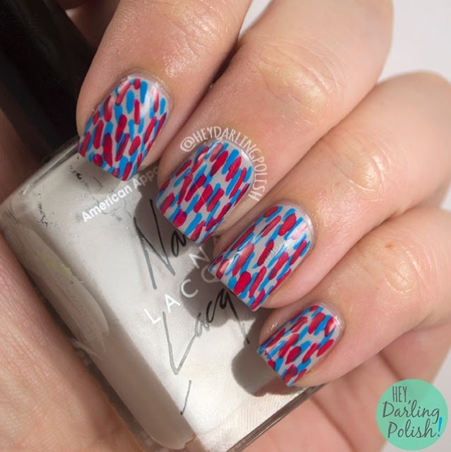 nails, nail art, nail polish, red, blue, grey, dashes, hey darling polish, golden oldie thursdays