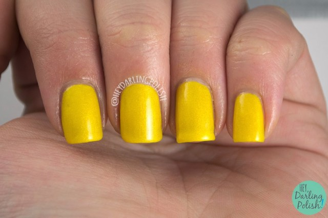 yellow, golden yellow, gold, enduring sunflower, nails, nail polish, polish, indie, indie polish, hey darling polish, love-a-bull lacquer,