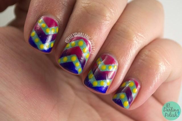 yellow, golden, siena, luxe lacquers, nails, gradient, chevrons, polka dots, pink, purple, yellow, green, july box, summer, hey darling polish, indie polish, nails, nail polish,