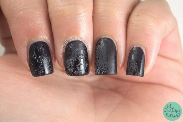 nails, nail art, nail polish, black, water spotted, matte, hey darling polish, naillinkup,