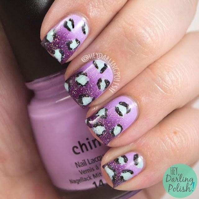 nails, nail art, nail polish, polish, leopard, hey darling polish, nail art ideas linkup, nail linkup, purple