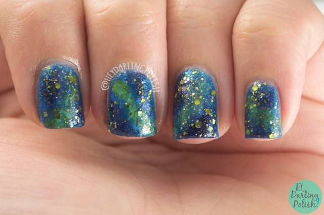 nails, nail art, nail polish, galaxy, galaxy nail art, hey darling polish, oh mon dieu part deux, hare polish golden years
