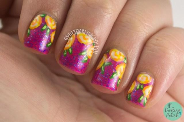 nails, nail art, nail polish, pink, hare polish, hare polish the sky was pink, indie polish, hey darling polish, roses, rose nail art, summer, yellow, oh mon dieu part deux