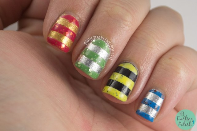 nails, nail art, nail polish, harry potter, harry potter nail art, stripes, indie polish, lucky 13 lacquer, hey darling polish, lacquer legion
