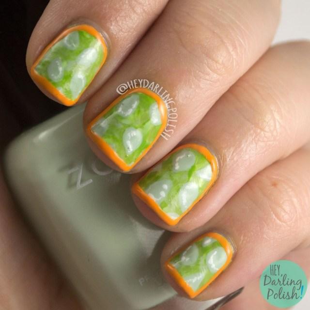 nails, nail art, nail polish, horned melon, fruit, fruit nail art, hey darling polish, oh mon dieu part deux, green, orange, seeds