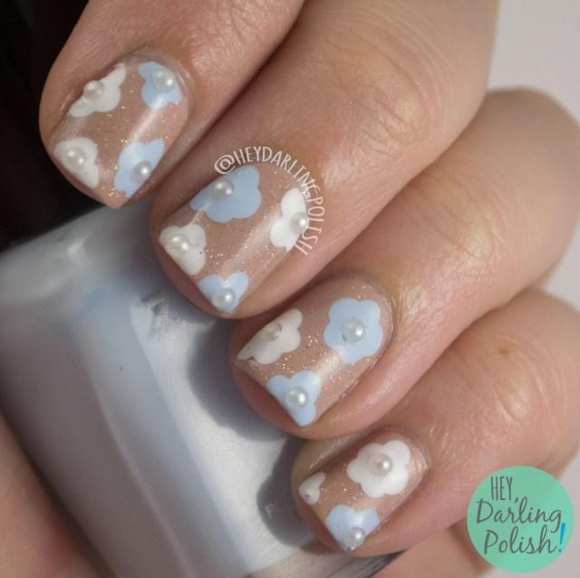nails, nail art, nail polish, floral, flowers, sparkle, bridal, bridal nail art, bridal nails, hey darling polish, oh mon dieu part deux