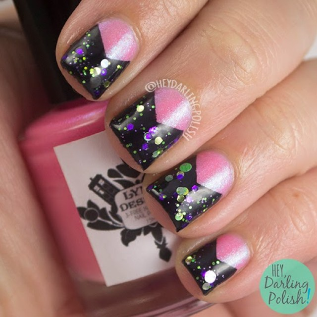 nails, nail art, nail polish, pink, green, purple, indie polish, hey darling polish, tri polish challenge, triangle, glitter
