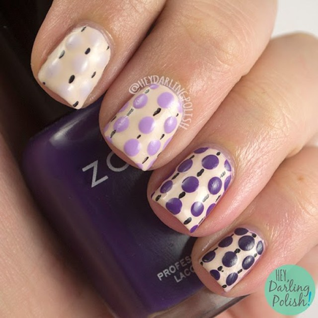 nails, nail art, nail polish, polka dots, dots, ombre, hey darling polish, purple, oh mon dieu part deux, pattern