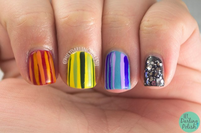 nails, nail art, nail polish, rainbow, stripes, glitter, hey darling polish, oh mon dieu part deux,