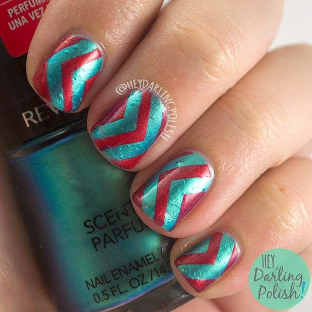 nails, nail art, nail polish, chevrons, arrows, teal, red, hey darling polish, the never ending pile challenge