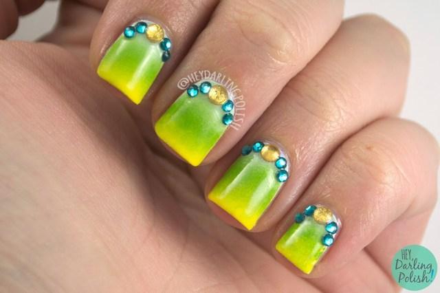 nails, nail art, nail polish, gradient, blue, yellow, green, zoya, hey darling polish, rhinestones,