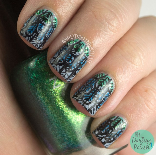 nails, nail art, nail polish, acrylic paint, feathers, hey darling polish, international nail art day, freehand