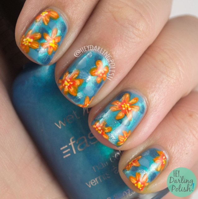 nails, nail art, nail polish, orange, blue, mosaic, freehand, hey darling polish, freehand nail art challenge