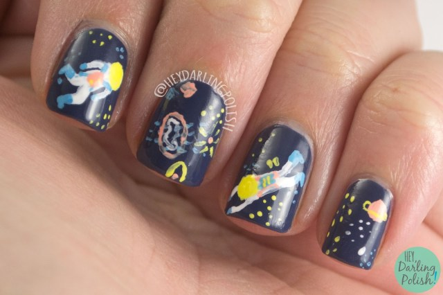 nails, nail art, nail polish, acrylic paint, pattern, freehand, astronauts, space, space nail art, hey darling polish, the nail art guild
